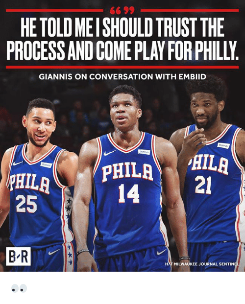 Milwaukee, Journal, and Philly: 66 99  HETOLD MEISHOULD TRUST THE  PROCESS AND COME PLAY FOR PHILLY  GIANNIS ON CONVERSATION WITH EMBIID  14-i  21  25  HAT MILWAUKEE JOURNAL SENTIN 👀