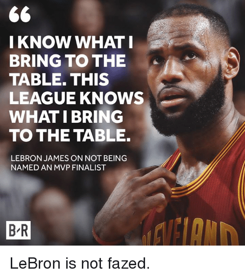 LeBron James, Lebron, and League: 66  KNOW WHAT I  BRING TO THE  TABLE. THIS  LEAGUE KNOWS  WHAT I BRING  TO THE TABLE.  LEBRON JAMES ON NOT BEING  NAMED AN MVP FINALIST  BR LeBron is not fazed.