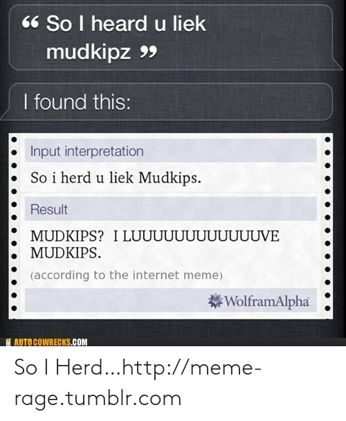Liek Mudkips: 66 So I heard u liek  mudkipz 99  I found this:  Input interpretation  So i herd u liek Mudkips.  Result  MUDKIPS? I LUUUUUUUUUUUUVE  MUDKIPS.  (according to the internet meme)  *WolframAlpha  I AUTO COWRECKS.COM So I Herd…http://meme-rage.tumblr.com