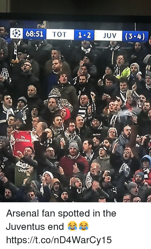 Arsenal, Soccer, and Juventus: 68:51  TOT  JUV  (3-4) Arsenal fan spotted in the Juventus end 😂😂 https://t.co/nD4WarCy15
