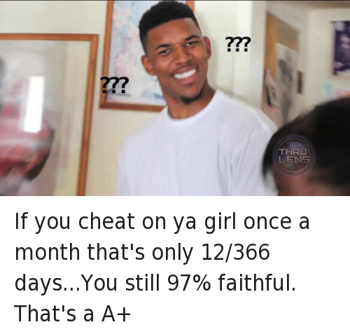 Bae, Cheating, and Confused Nick Young: If you cheat on ya girl once a month that's only 12/366 days...You still 97% faithful. That's a A+ If you cheat on ya girl once a month that's only 12-366 days...You still 97% faithful. That's a A+