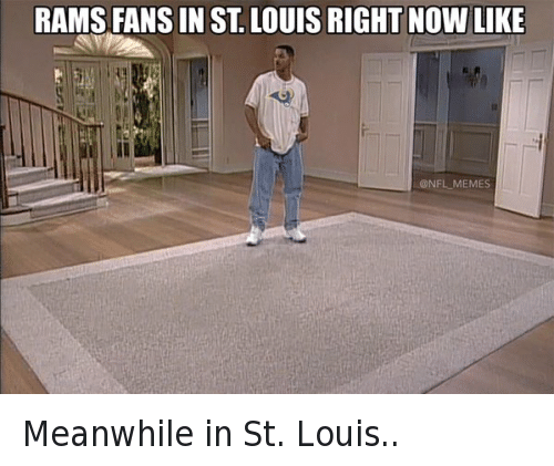 Los Angeles Rams: @NFL_Memes  Rams fans in St. Louis right now like Meanwhile in St. Louis..