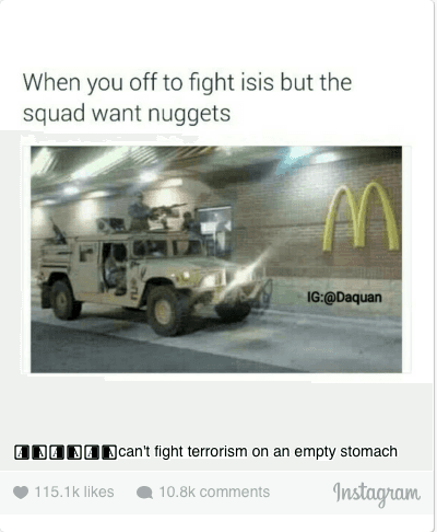 McDonalds: 😂😂😂can't fight terrorism on an empty stomach
