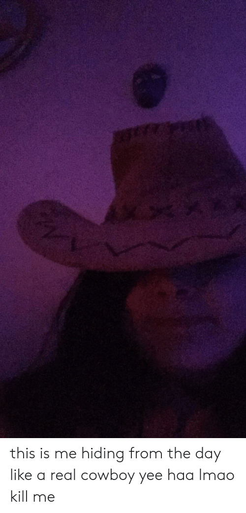 Real Cowboy: 6Rt this is me hiding from the day like a real cowboy yee haa lmao kill me