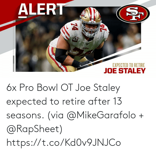 Seasons: 6x Pro Bowl OT Joe Staley expected to retire after 13 seasons. (via @MikeGarafolo + @RapSheet) https://t.co/Kd0v9JNJCo