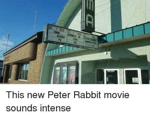 wrinkle: 7 920  TOMB  7 920 7 P  WRINKLE IN PETER RABBIT  RAIDER TIME ANNIHILATION  PG  PG  18 A 9 20  Please  Othet Doot This new Peter Rabbit movie sounds intense