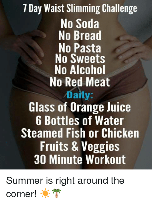 7 Day Waist Slimming Challenge No Soda No Bread No Pasta ...
