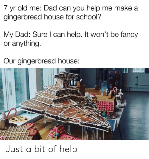 Fancy: 7  old me: Dad can you help me make a  yr  gingerbread house for school?  My Dad: Sure I can help. It won't be fancy  or anything.  Our gingerbread house: Just a bit of help