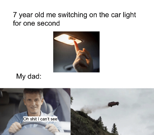 I Cant See: 7 year old me switching on the car light  for one second  My dad:  Oh shit I can't see