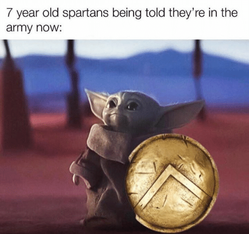 spartans: 7 year old spartans being told they're in the  army now