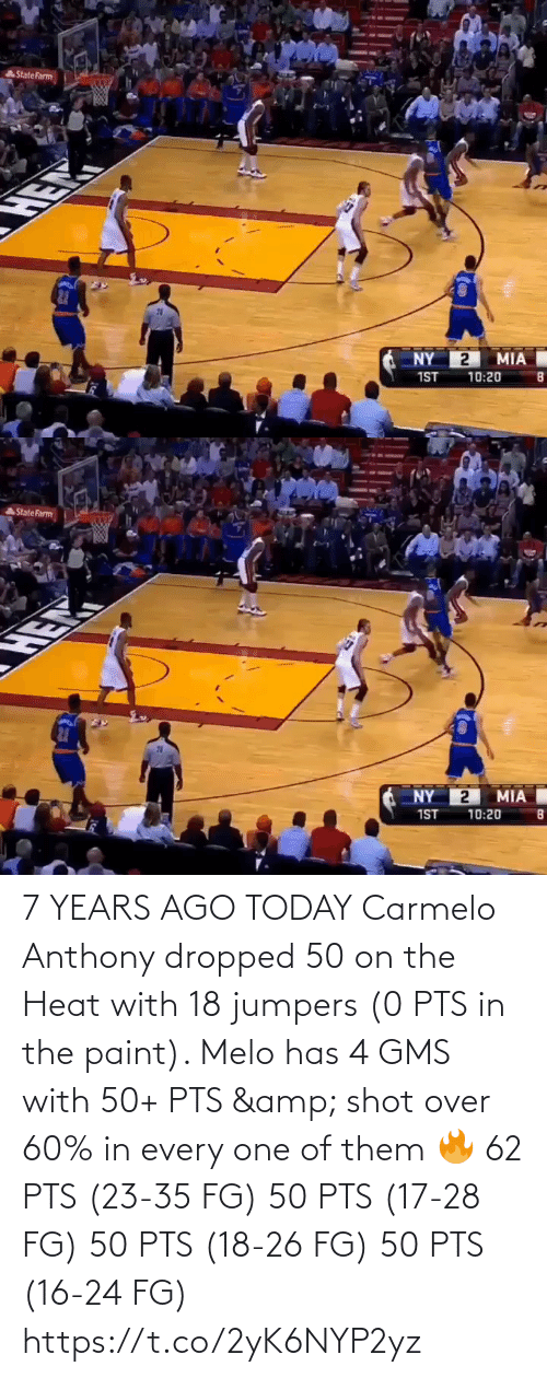 Paint: 7 YEARS AGO TODAY Carmelo Anthony dropped 50 on the Heat with 18 jumpers (0 PTS in the paint).   Melo has 4 GMS with 50+ PTS & shot over 60% in every one of them 🔥  62 PTS (23-35 FG) 50 PTS (17-28 FG) 50 PTS (18-26 FG) 50 PTS (16-24 FG) https://t.co/2yK6NYP2yz