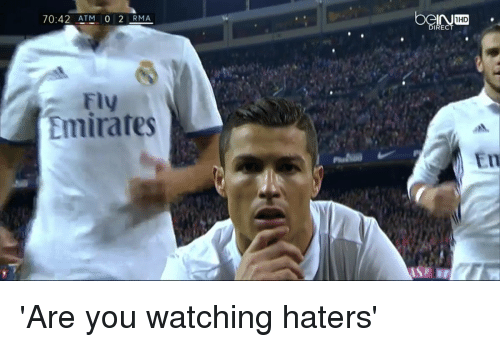 Soccer, Emirates, and Atm: 70:42 ATM 0 2 RMA  FIV  Emirates  mHD 'Are you watching haters'