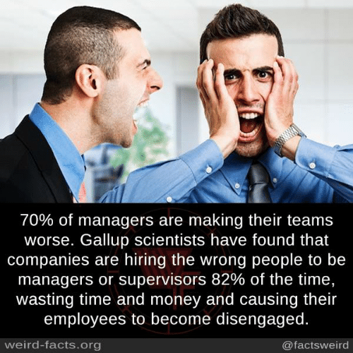 Wasting Time: 70% of managers are making their teams  worse. Gallup scientists have found that  companies are hiring the wrong people to be  managers or supervisors 82% of the time.  wasting time and money and causing their  employees to become disengaged.  weird-facts.org  @factsweird