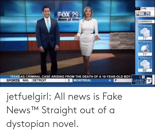 A 10: 71 548  FOX 29  News at Nine  FOX 29  CURRENTS  EANANTON  71  NW  JESSICA HEADLEY  71  KERRVILLE  69  TEXAS AS CRIMINAL CASE ARISING FROM THE DEATH OF A 10-YEAR-OLD BOY  CS  CARARIN  210-222-22  SPORTS NHL DETROIT  2 MONTREAL jetfuelgirl:  All news is Fake News™  Straight out of a dystopian novel.