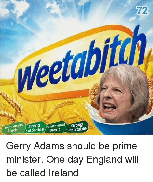 gerry adams: 72  Weetabiton  abi  Brexit means  Strong  and Stable Brexit means  andStable) Brexit yard table  means Strong  Brexit and Stable  Brexit Gerry Adams should be prime minister. One day England will be called Ireland.