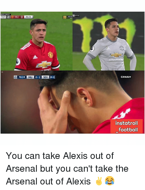 Arsenal, Football, and Memes: 78:19 MU 0-2 SEV (0-2)  SEV  CANAL+  instatroll  football You can take Alexis out of Arsenal but you can't take the Arsenal out of Alexis ✌😂