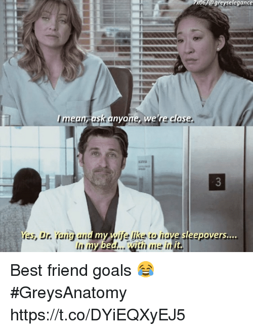 Best Friend, Goals, and Memes: 7x06 @greyselegance  mean ask anyone, we 're close  Yes, Dr Yong and my wife ake to have sleepovers  In my bed. with me in  it. Best friend goals 😂 #GreysAnatomy https://t.co/DYiEQXyEJ5
