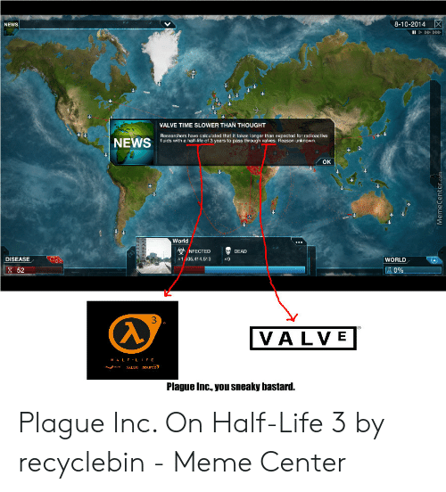 Valve Time: 8-10-2014 X  NEWS  IID  VALVE TIME SLOWER THAN THOUGHT  Researchers have calculated that it takes longer than expected for radioactive  fluids with a half-life of 3 years to pass through valves. Reason unknown.  NEWS  OK  World  NFECTED  DEAD  DISEASE  1 305,414,513  WORLD  52  0%  3  100  VALVE  HALF-LIFE  source,  NA  ALY  Plague Inc., you sneaky bastard.  MemeCenter.com Plague Inc. On Half-Life 3 by recyclebin - Meme Center