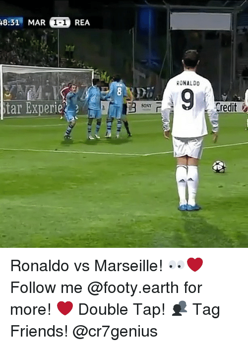 starly: 8:31 MAR 1-1 REA  RONALDO  Credit  star Experie Ronaldo vs Marseille! 👀❤️ Follow me @footy.earth for more! ❤️ Double Tap! 👥 Tag Friends! @cr7genius