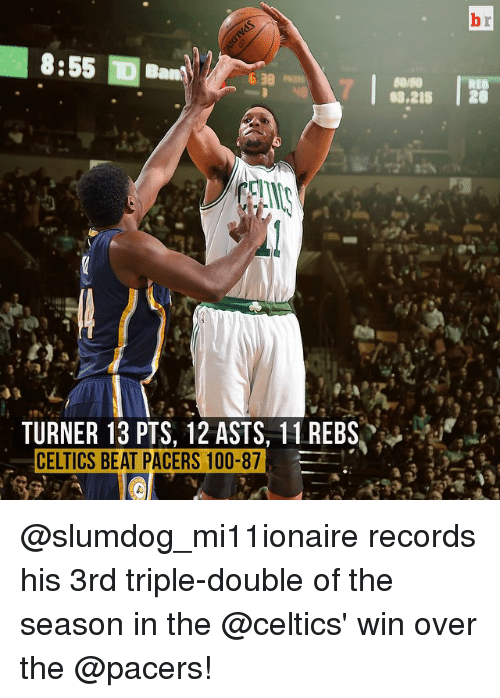 Celtic: 8:55  S3.215  20  TURNER 13 PTS, 12 ASTS, 11 REBS  CELTICS BEAT PACERS 100-87 @slumdog_mi11ionaire records his 3rd triple-double of the season in the @celtics' win over the @pacers!