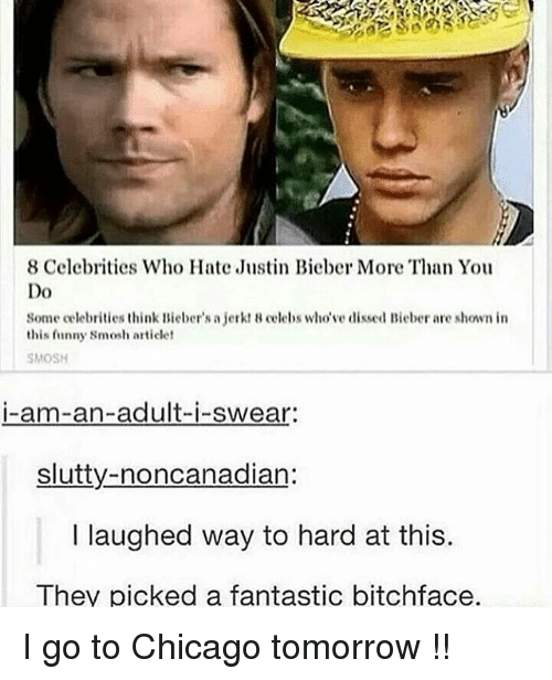Chicago, Funny, and Justin Bieber: 8 Celebrities Who Hate Justin Bieber More Than You  Do  Some celebrities think Bieber's a jerkt 8 celebs who've dissed Bieber are shown in  this funny smosh articlet  SMOSH  i-am-an-adult-i-swear:  slutty-noncanadian:  l laughed way to hard at this.  They picked a fantastic bitchface. I go to Chicago tomorrow !!