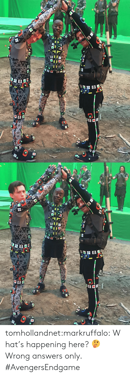what's happening: 8  E  8   8  8  8 tomhollandnet:markruffalo:What's happening here? 🤔 Wrong answers only. #AvengersEndgame