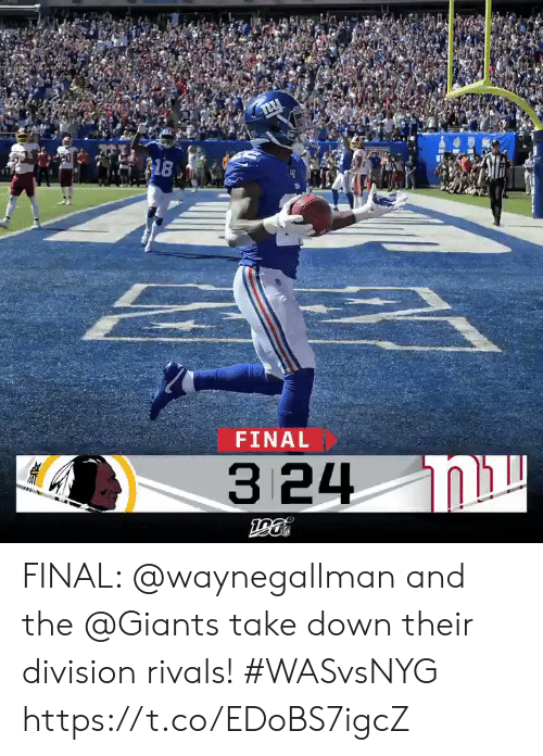 division: 8  FINAL  3 24 N FINAL: @waynegallman and the @Giants take down their division rivals!  #WASvsNYG https://t.co/EDoBS7igcZ