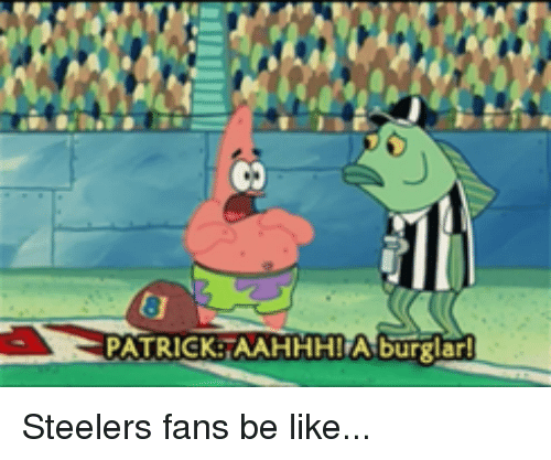 steelers fans be like: 8  PATRICK-TAAHHHI A burglar! Steelers fans be like...