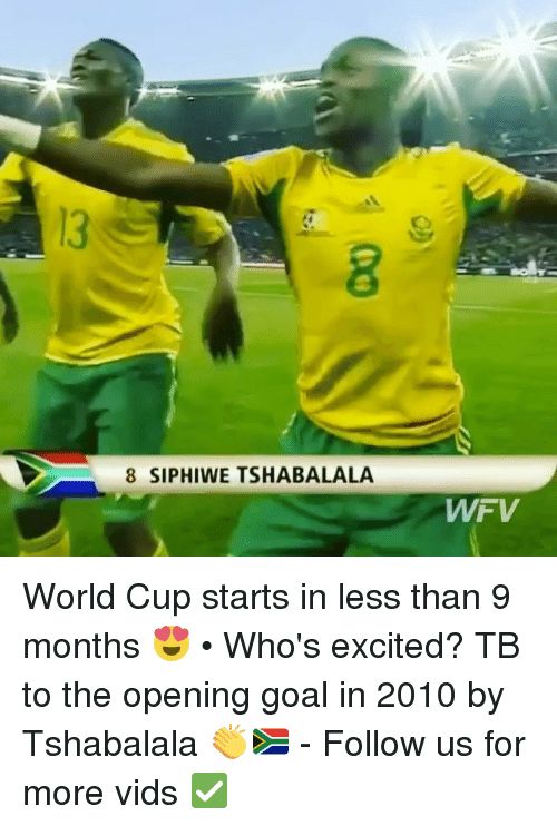 Memes, World Cup, and Goal: 8 SIPHIWE TSHABALALA World Cup starts in less than 9 months 😍 • Who's excited? TB to the opening goal in 2010 by Tshabalala 👏🇿🇦 - Follow us for more vids ✅