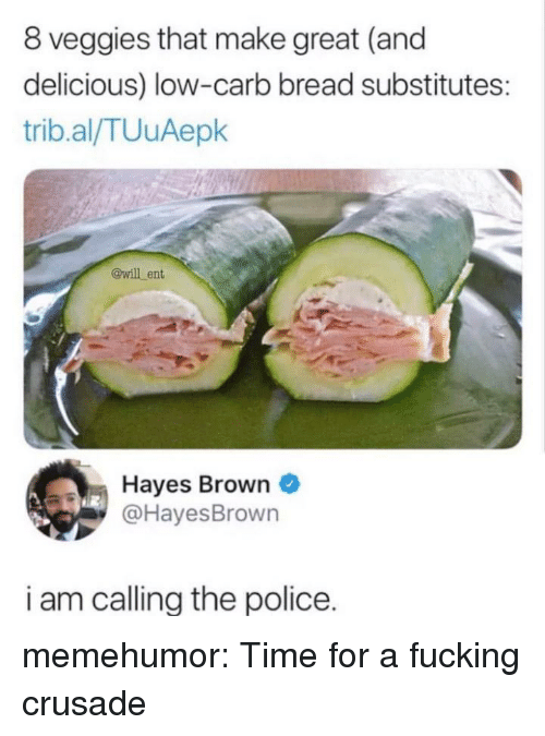 hayes: 8 veggies that make great (and  delicious) low-carb bread substitutes  trib.al/TUuAepk  @will ent  Hayes Brown  @HayesBrown  i am callina the police. memehumor:  Time for a fucking crusade