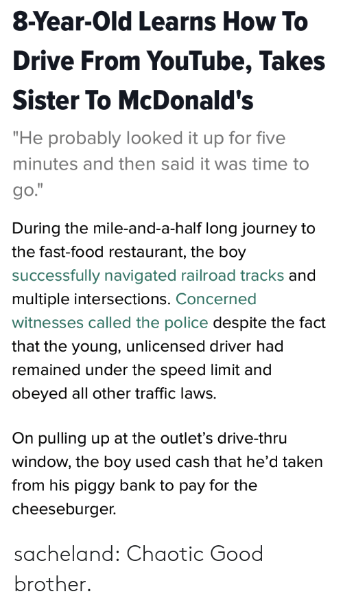 """Chaotic Good: 8-Year-Old Learns How To  Drive From YouTube, Takes  Sister To McDonald's  """"He probably looked it up for five  minutes and then said it was time to  go.   During the mile-and-a-half long journey to  the fast-food restaurant, the boy  successfully navigated railroad tracks and  multiple intersections. Concerned  witnesses called the police despite the fact  that the young, unlicensed driver had  remained under the speed limit and  obeyed all other traffic laws.  On pulling up at the outlet's drive-thru  window, the boy used cash that he'd taken  from his piggy bank to pay for the  cheeseburger. sacheland: Chaotic Good brother."""