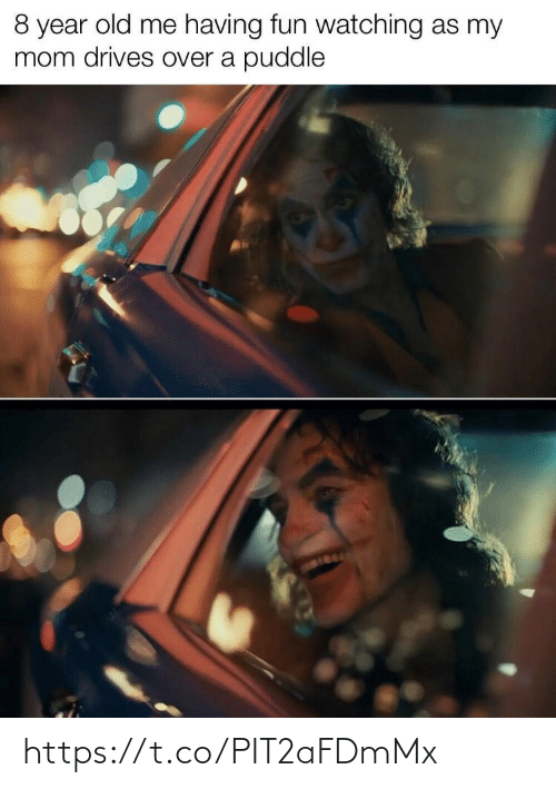having fun: 8 year old me having fun watching as my  mom drives over a puddle https://t.co/PIT2aFDmMx