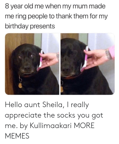 you got me: 8 year old me when my mum made  me ring people to thank them for my  birthday presents Hello aunt Sheila, I really appreciate the socks you got me. by Kullimaakari MORE MEMES