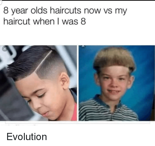 Haircuts: 8 year olds haircuts now vs my  haircut when I was 8 Evolution