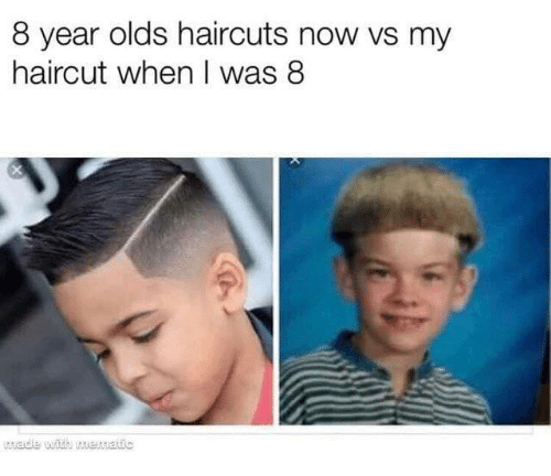 Haircuts: 8 year olds haircuts now vs my  haircut when I was 8