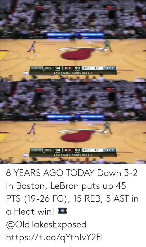 Heat: 8 YEARS AGO TODAY Down 3-2 in Boston, LeBron puts up 45 PTS (19-26 FG), 15 REB, 5 AST in a Heat win!   📼 @OldTakesExposed https://t.co/qYthIvY2FI