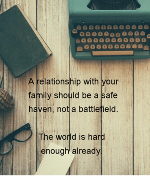 Battlefield: 8000  A relationship with your  family should be a safe  haven, not a battlefield  The world is hard  enough already