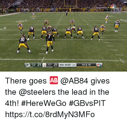 Memes, Steelers, and 🤖: 81  30 4  GGB 21PIT 21  4th 8:50 :11  1st & 10 There goes 🆎  @AB84 gives the @steelers the lead in the 4th! #HereWeGo #GBvsPIT https://t.co/8rdMyN3MFo