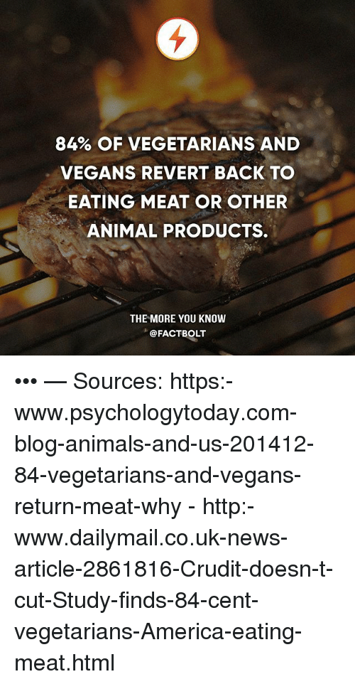 eating meat: 84% OF VEGETARIANS AND  VEGANS REVERT BACK TO  EATING MEAT OR OTHER  ANIMAL PRODUCTS.  THE MORE YOU KNOW  @FACTBOLT ••• — Sources: https:-www.psychologytoday.com-blog-animals-and-us-201412-84-vegetarians-and-vegans-return-meat-why - http:-www.dailymail.co.uk-news-article-2861816-Crudit-doesn-t-cut-Study-finds-84-cent-vegetarians-America-eating-meat.html