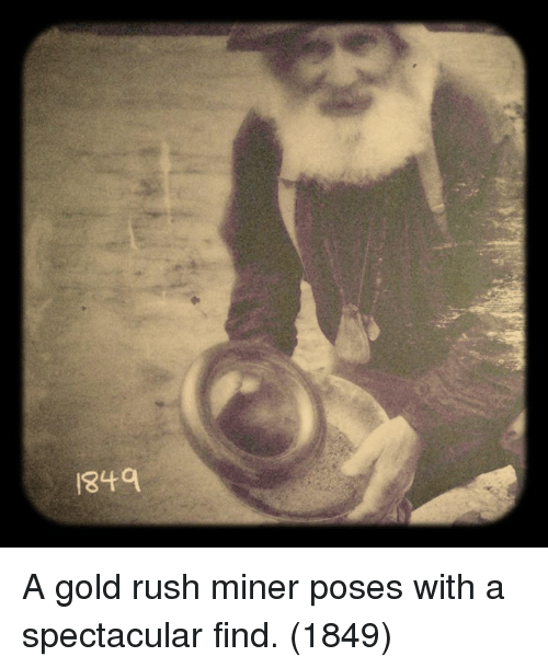 gold rush: 849 A gold rush miner poses with a spectacular find. (1849)
