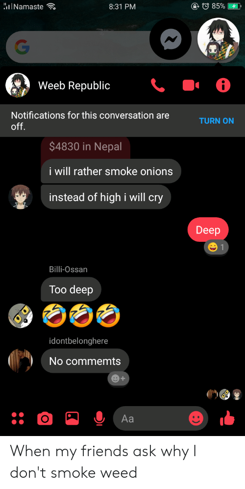 I Dont Smoke Weed: @85%  HINamaste  8:31 PM  Weeb Republic  Notifications for this conversation are  TURN ON  off.  $4830 in Nepal  i will rather smoke onions  instead of highi will cry  Deep  Billi-Ossan  Too deep  idontbelonghere  No commemts  e+  Aa When my friends ask why I don't smoke weed