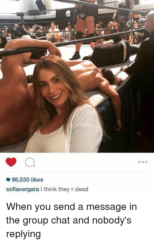 Girl Memes: 86,530 likes  sofiavergara l think they r dead  O O O When you send a message in the group chat and nobody's replying