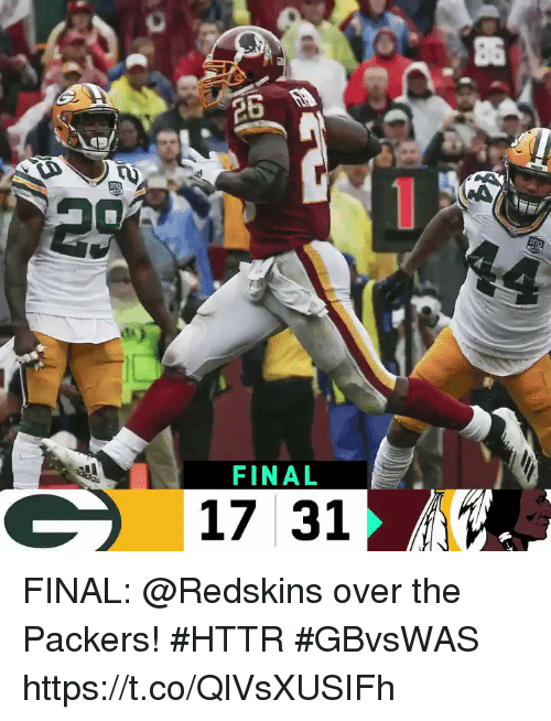 Memes, Washington Redskins, and Packers: 86  FINAL  17 31 FINAL: @Redskins over the Packers! #HTTR #GBvsWAS https://t.co/QlVsXUSIFh