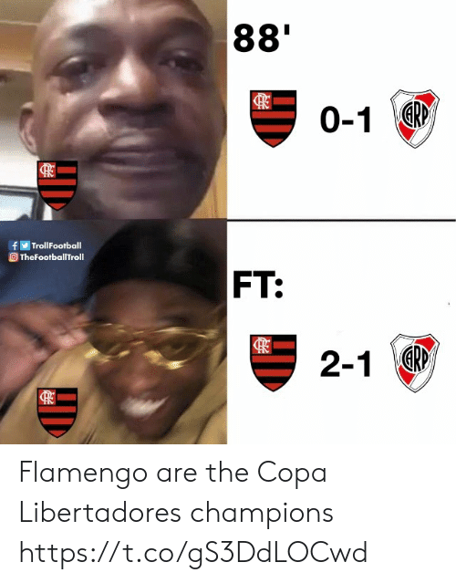 champions: 88'  0-1R  fTrollFootball  TheFootballTroll  FT:  2-1 Flamengo are the Copa Libertadores champions https://t.co/gS3DdLOCwd