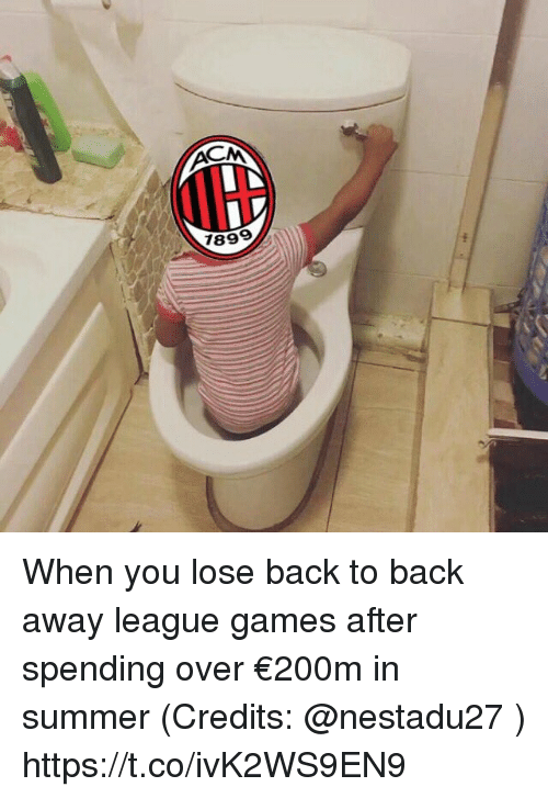 Back to Back, Memes, and Summer: 89 When you lose back to back away league games after spending over €200m in summer (Credits: @nestadu27 ) https://t.co/ivK2WS9EN9