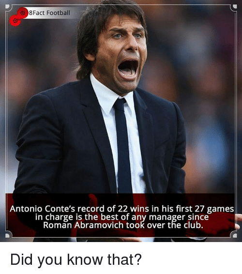 Antonio Conte: 8Fact Football  Antonio Conte's record of 22 wins in his first 27 games  in charge is the best of any manager since  Roman Abramovich took over the club. Did you know that?