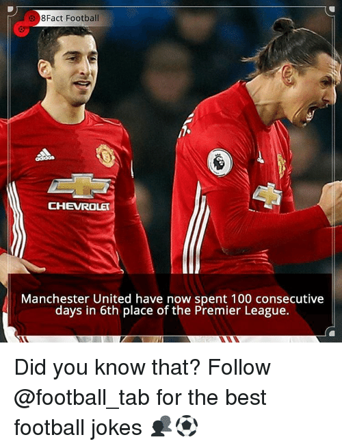 Memes, 🤖, and The Best: 8Fact Football  CHEVROLET  Manchester United have now spent 100 consecutive  days in 6th place of the Premier League. Did you know that? Follow @football_tab for the best football jokes 👥⚽️