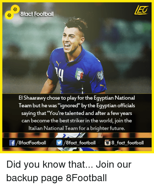 """Memes, Egyptian, and 🤖: 8fact Football  El Shaarawy chose to play for the Egyptian National  Team but he was """"ignored"""" by the Egyptian officials  saying that """"You're talented and after a few years  can become the best striker in the world, join the  Italian National Team for a brighter future  8factFootball  8fact football  8 fact football Did you know that...  Join our backup page 8Football"""