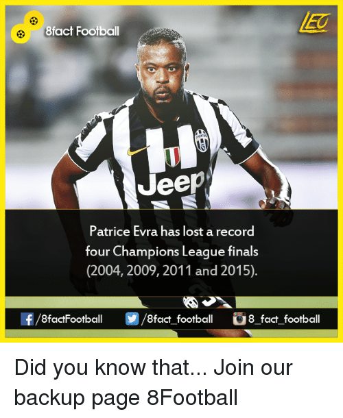 evra: 8fact Football  Jeep  Patrice Evra has lost a record  four Champions League finals  (2004, 2009, 2011 and 2015).  8factFootball  8fact football 8 fact football Did you know that...  Join our backup page 8Football