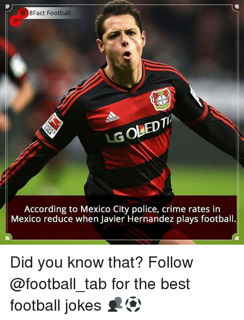 Crime, Memes, and Police: 8Fact Football  LGoUEDTh  According to Mexico City police, crime rates in  Mexico reduce when Javier Hernandez plays football. Did you know that? Follow @football_tab for the best football jokes 👥⚽️